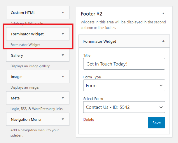 Ajouter un formulaire Forminator avec un widget