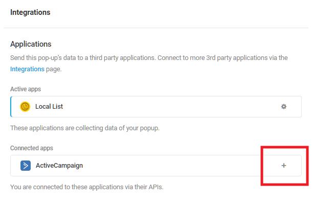 Sélectionnez l'application intégrée ActiveCampaign dans le module d'activation Hustle