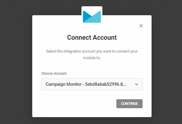 Connectez-vous au compte Campaign Monitor dans le module d'activation Hustle