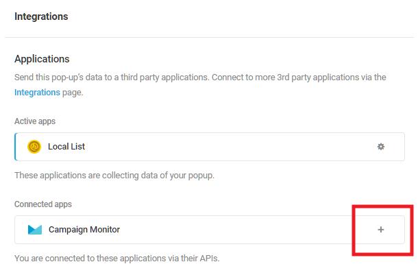 Sélectionnez l'application intégrée Campaign Monitor dans le module d'activation Hustle