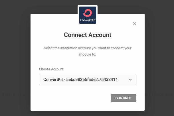 Connectez-vous au compte ConvertKit dans le module opt-in Hustle