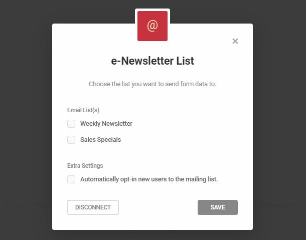 Connectez-vous aux listes de newsletter électroniques dans le module d'inscription Hustle