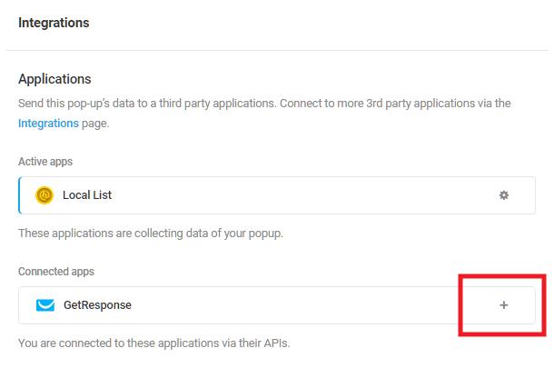 Sélectionnez l'application intégrée GetResponse dans le module d'activation Hustle