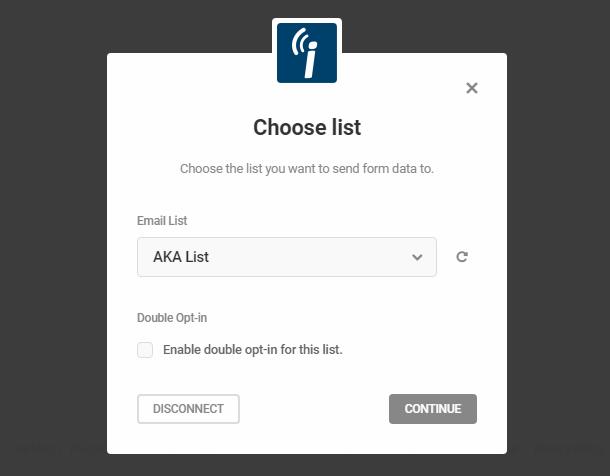 Sélectionnez la liste iContact dans le module opt-in Hustle