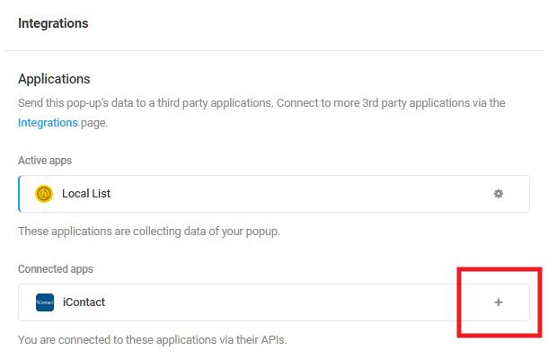 Sélectionnez l'application intégrée iContact dans le module d'activation Hustle