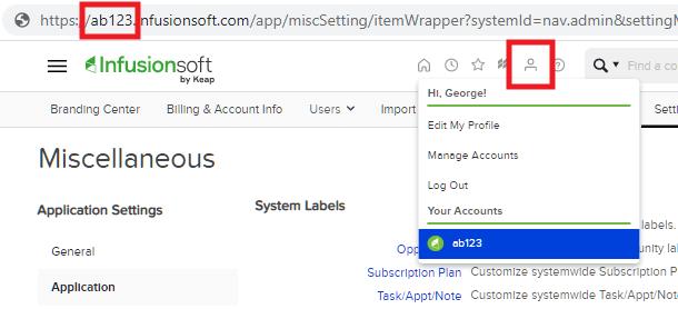 Obtenez le nom du compte InfusionSoft pour l'intégration avec Hustle