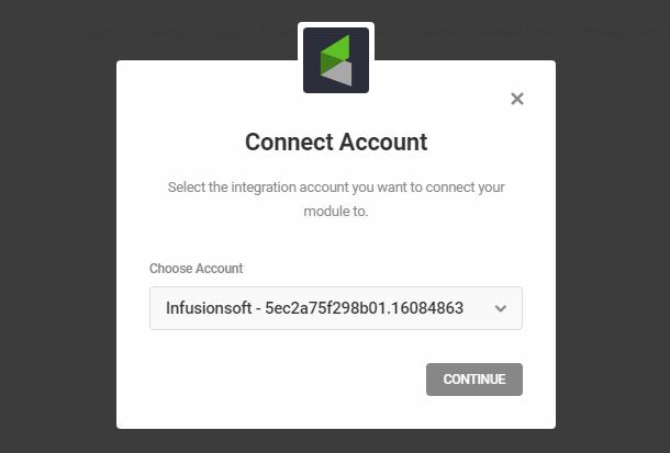 Connectez-vous au compte InfusionSoft dans le module d'activation Hustle