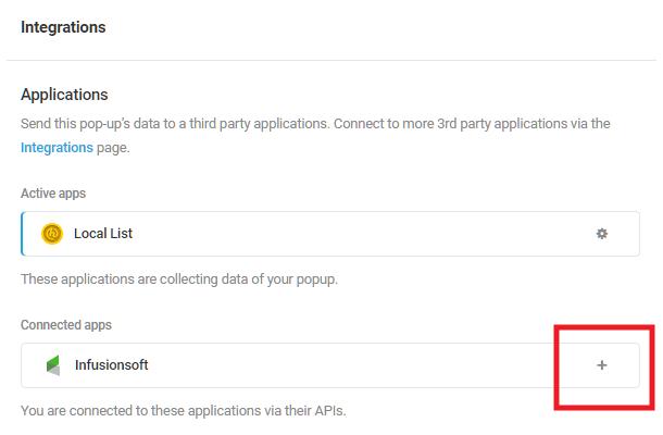 Sélectionnez l'application intégrée InfusionSoft dans le module d'activation Hustle