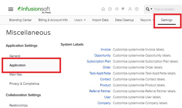 Paramètres de compte chez InfusionSoft pour l'intégration avec Hustle