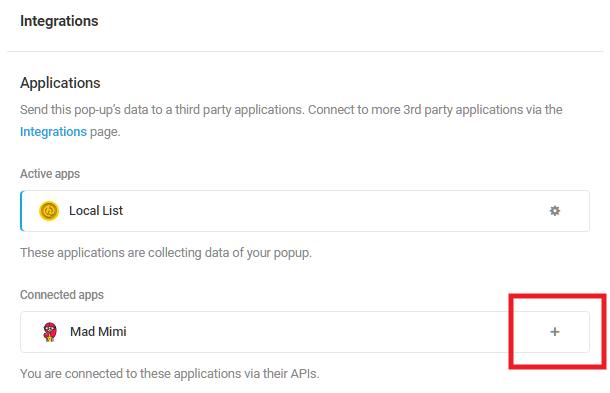 Sélectionnez l'application intégrée Mad Mimi dans le module d'activation Hustle