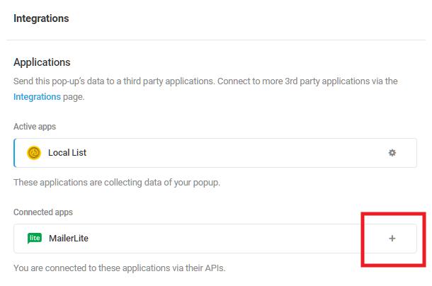 Sélectionnez l'application intégrée MailerLite dans le module d'activation Hustle