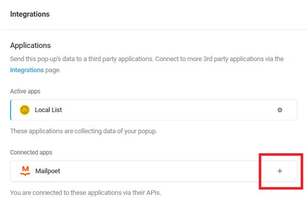 Sélectionnez l'application intégrée Mailpoet dans le module d'activation Hustle
