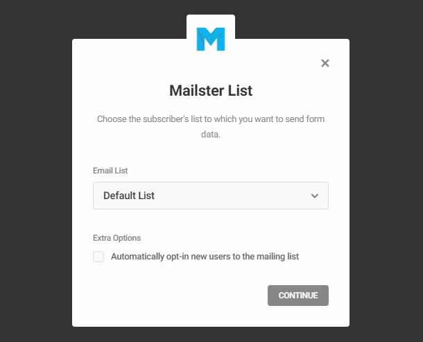 Sélectionnez la liste Mailpoet dans le module opt-in Hustle