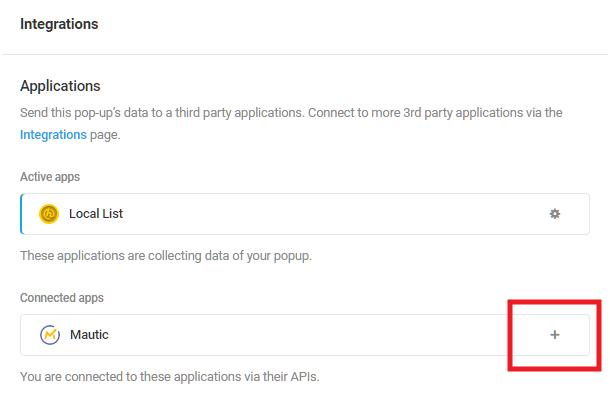 Sélectionnez l'application intégrée Mautic dans le module d'activation Hustle