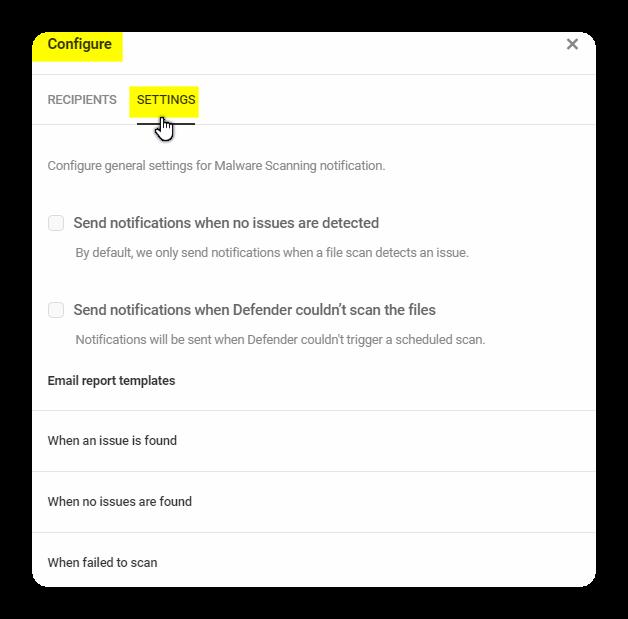 parametres generaux pour la notification danalyse