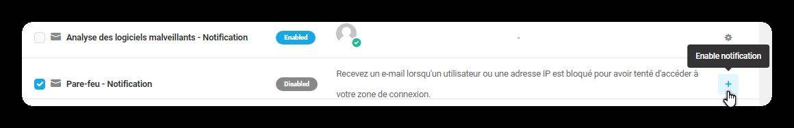 pare feu notification