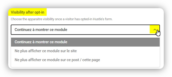 visibility after opt in