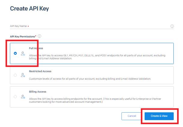 Créer une nouvelle clé API SendGrid pour l'intégration avec Hustle