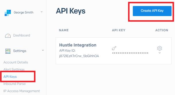 Obtenez la clé d'API SendGrid pour l'intégration avec Hustle