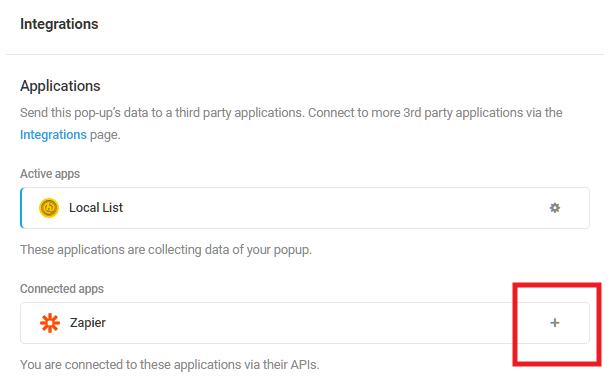 Sélectionnez l'application intégrée Zapier dans le module d'activation Hustle