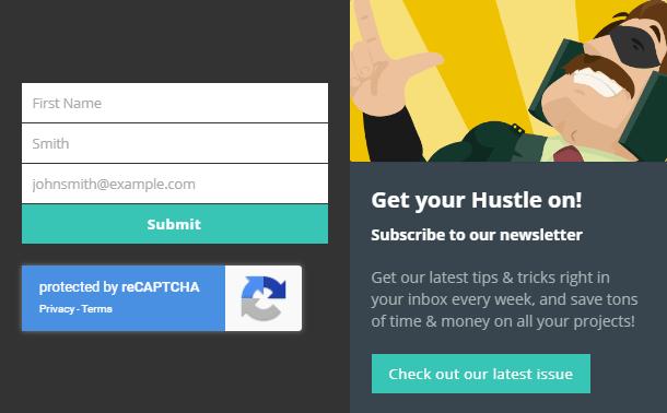 Google reCaptcha dans Hustle opt-in