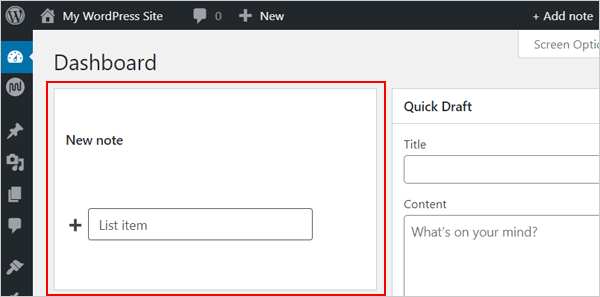 WP Dashboard Notes - nouvelle note.
