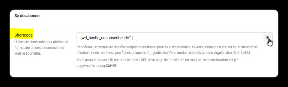 shortcode desabonner