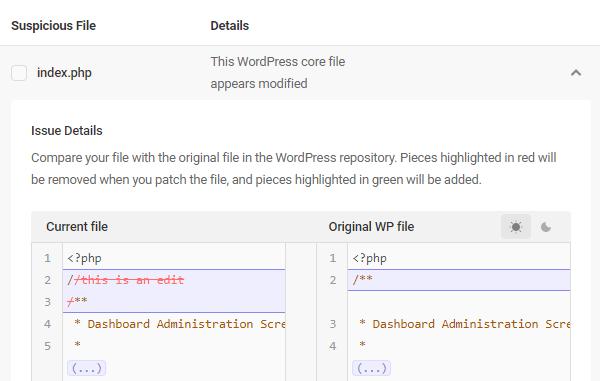 Capture d'écran d'un signalement de modification de texte dans Defender.