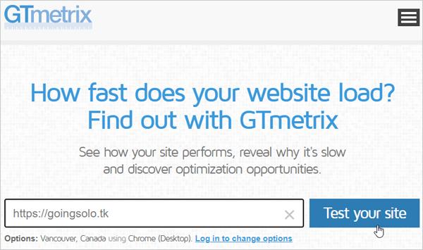 Test de vitesse de page GTmetrix