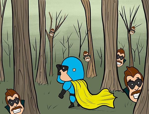 Dessin animé - Devman fouille dans la forêt alors que Hustle apparaît partout.