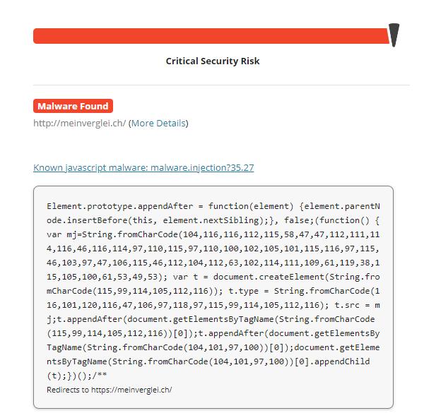 Capture d'écran d'un malware détecté lors d'une analyse Sucuri.