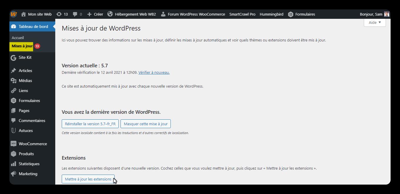 mises a jour de wordpress