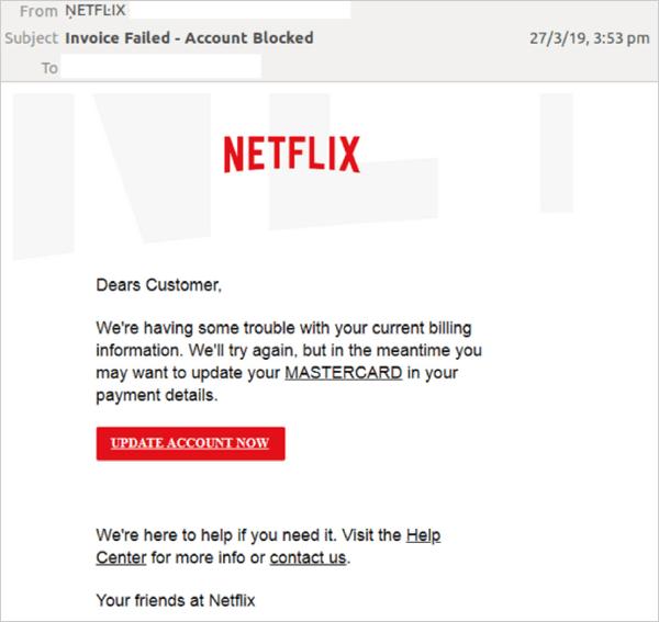 E-mail d'arnaque Netflix