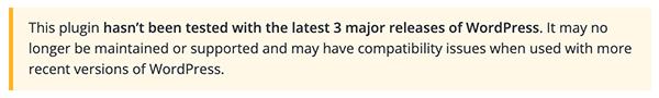 Le message pour un plugin obsolète dans WordPress.