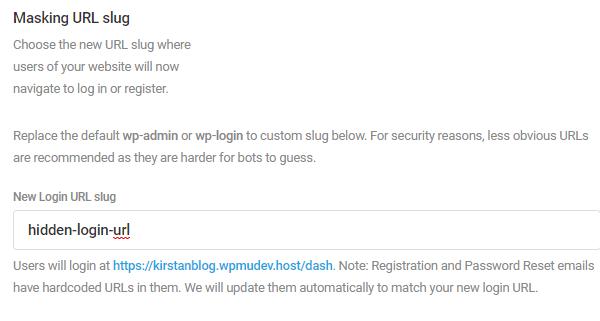 """Capture d'écran de l'utilisation de la fonction de masquage d'URL pour changer l'URL en """"URL de connexion cachée"""""""
