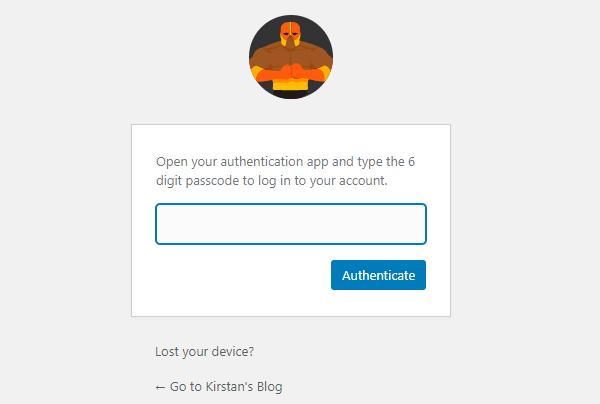 Capture d'écran de la page de Defender vous demandant de saisir le code d'authentification.