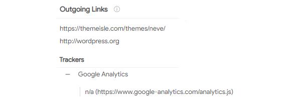 Capture d'écran du résultat de la vérification des liens sortants.