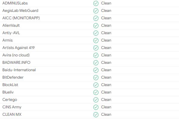 Capture d'écran de certains des partenaires utilisés par VirusTotal.