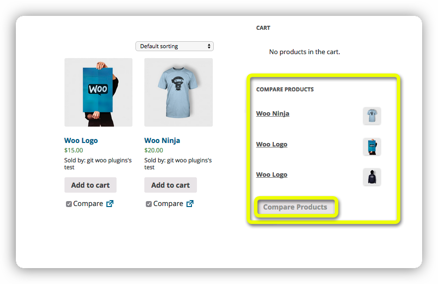 wc products compare widget