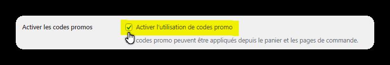 activer les codes promos