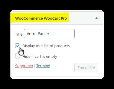 add widget woocart