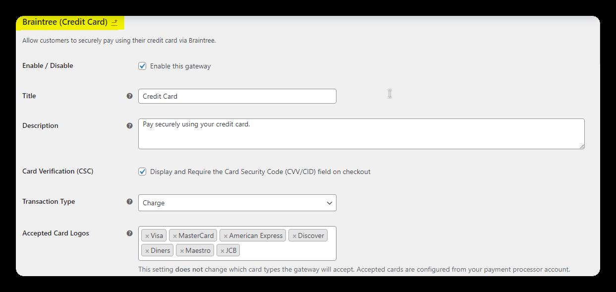 braintree credit card