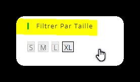 filtrer par taille size selector