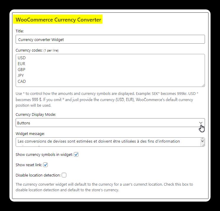 widget curency reglage